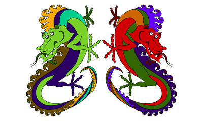 vector color drawn picture funny dragon on a white background.