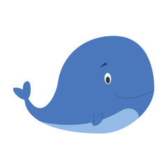 Cute cartoon whale vector illustration