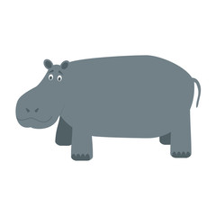Cute cartoon hippo vector illustration