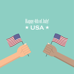 Hands holding the United States of America flag