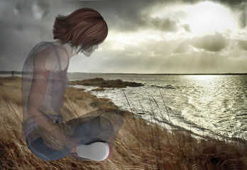 digitally rendered illustration of the spirit of a woman gazing out to the ocean
