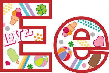 Litera E, alfabet, lato