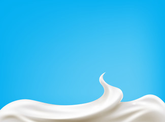 sour cream isolated on blue background