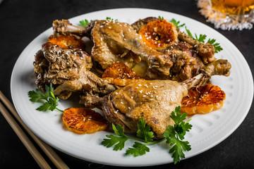 Roasted duck baked in mandarins