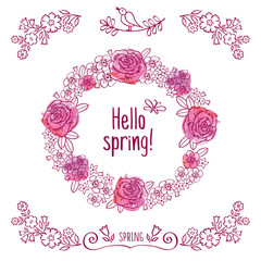Hello spring! Spring wreath of decorative flowers on the pink watercolor background. Greeting card. Elements for Valentine's Day, mother's day, birthday, wedding, easter. Doodles, sketch. Vector.