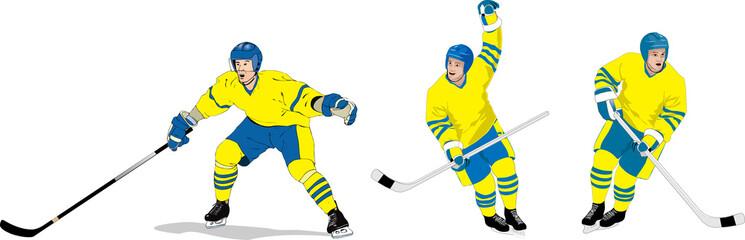 Hockey spelare i olika positioner