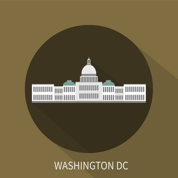 Capitol building in Washington DC. Vector icon.