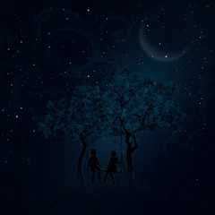 Couple on a swing between trees. Children swinging. Romantic meeting at night. Background for Valentine's Day. Vector, EPS 10.