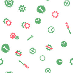 Time Tools Seamless vector repeatable pattern. Style is flat red and green symbols on a white background.