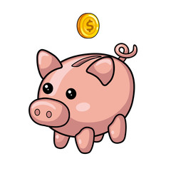 Piggy moneybox and coin.