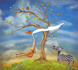 The illustration shows romantic relations between a giraffe and zebra