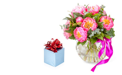 Gift concept: Amazing bouquet of pink pions with blue gift box o