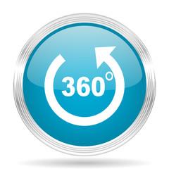 panorama blue glossy metallic circle modern web icon on white background