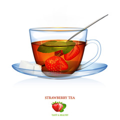 Strawberry Tea illustration. Vector. Beautiful illustration of strawberry tea with mint leaves and two peaces of sugar and spoon. Glass cup and saucer.