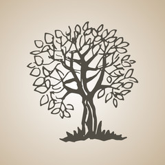 Sketched decorative tree of doodle stile. Hand drawn illustration