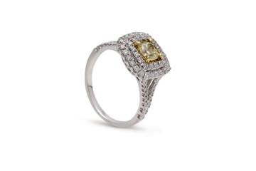 Gorgeous Cushion Cut Yellow Diamond Ring with Double Row Halo Diamonds