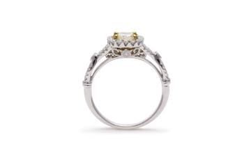 Gorgeous Yellow Cushion Cut Diamond Ring with Halo Diamonds