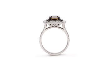 Gorgeous Cushion Cut Brown Diamond Ring with Double Row Halo Diamonds
