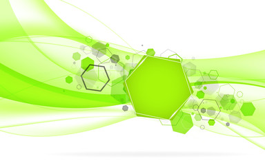 Abstract green background with hexagon. Vector Illustration