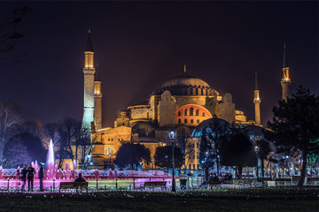 aya sofia night scene, istanbul