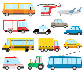 set of cartoon transport