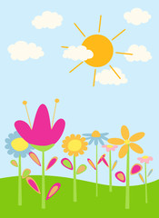 abstract cartoon flowers with sky,clouds,sun. vector