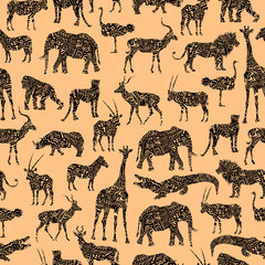 Seamless Pattern With Brown Ornamental African Animals On The Beige