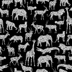 Seamless Pattern With White Ornamental African Animals On The Black