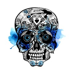 Hand Drawn Skull. Rock style
