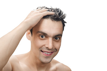 young man with a washing her hair