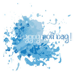 Postcard with chaotic blue watercolor splashes and blots isolated on white background. Festival of colors Holi. Raster illustration