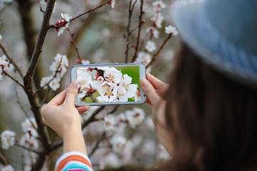 woman in spring blossoming garden photographs flowering tree