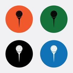 Golf ball on tee sport icon