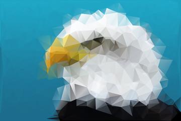 Polygon eagle with blue sky. EPS 10 + JPG 5000x3333 300dpi