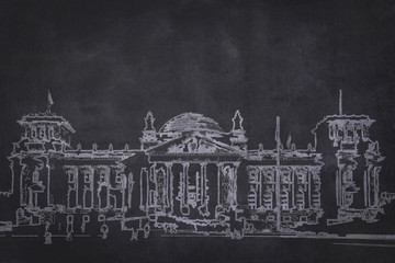 chalk drawing of the german reichstag building on chalkboard