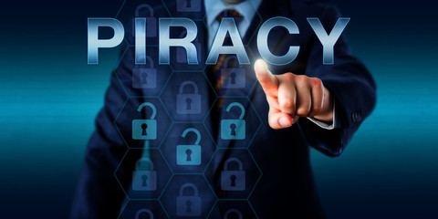 Cyber Criminal Pointing At PIRACY Onscreen