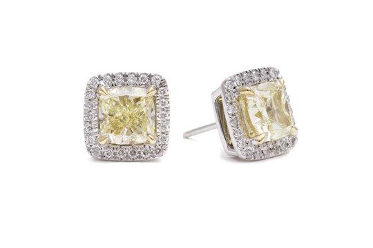 Gorgeous Cushion Cut Yellow Diamond Earrings with White Diamond Halos