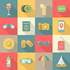 Summer beach vacation holiday icon business flat vector
