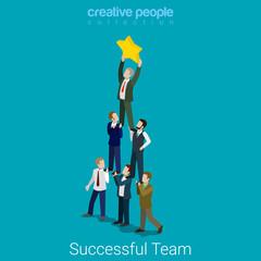 Successful dream team teamwork pyramid star business flat vector