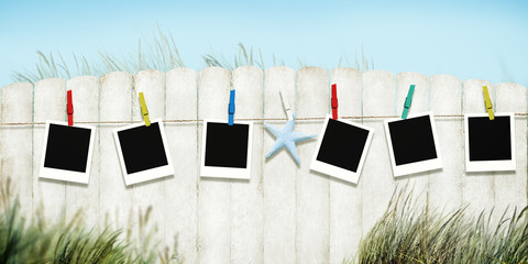 Frame Photo Picture Peg Hanging Fence Grass Concept