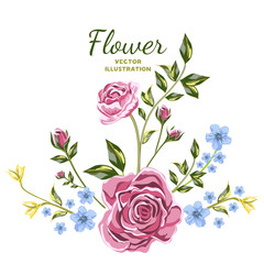 Vector of Flower Bouquets. Wildflowers and pink roses