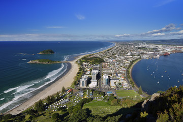 Mount Maunganui beach and port from the summit walking track, New Zealand