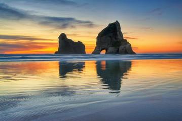Sunset at  Wharariki Beach, South Island New Zealand
