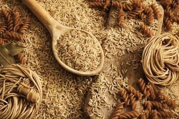 Rice, noodles, pasta - health food / healthy diet background.