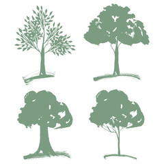 Vector set of different Green Silhouettes Trees of Landscapegn.