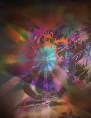 A psychedelic composite photo of a Buddha statue meditating .