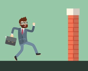 Business man wanna success from wall brick obstacle