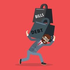 Business man debt and bills weight
