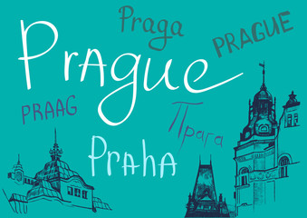 Prague word in different languages.Vector design elements.Hand drawn illustration.