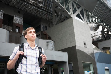 Tourist from Europe in Kyoto Station in Japan